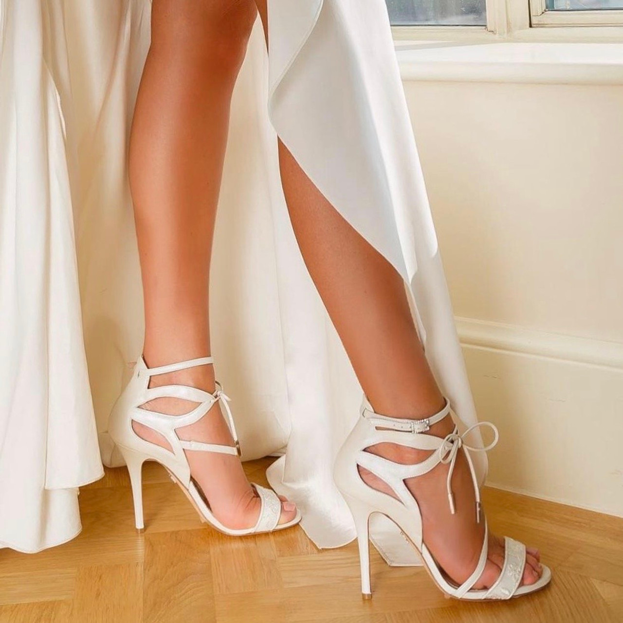 Aperto Ivory Leather and Lace Heel Sandals
