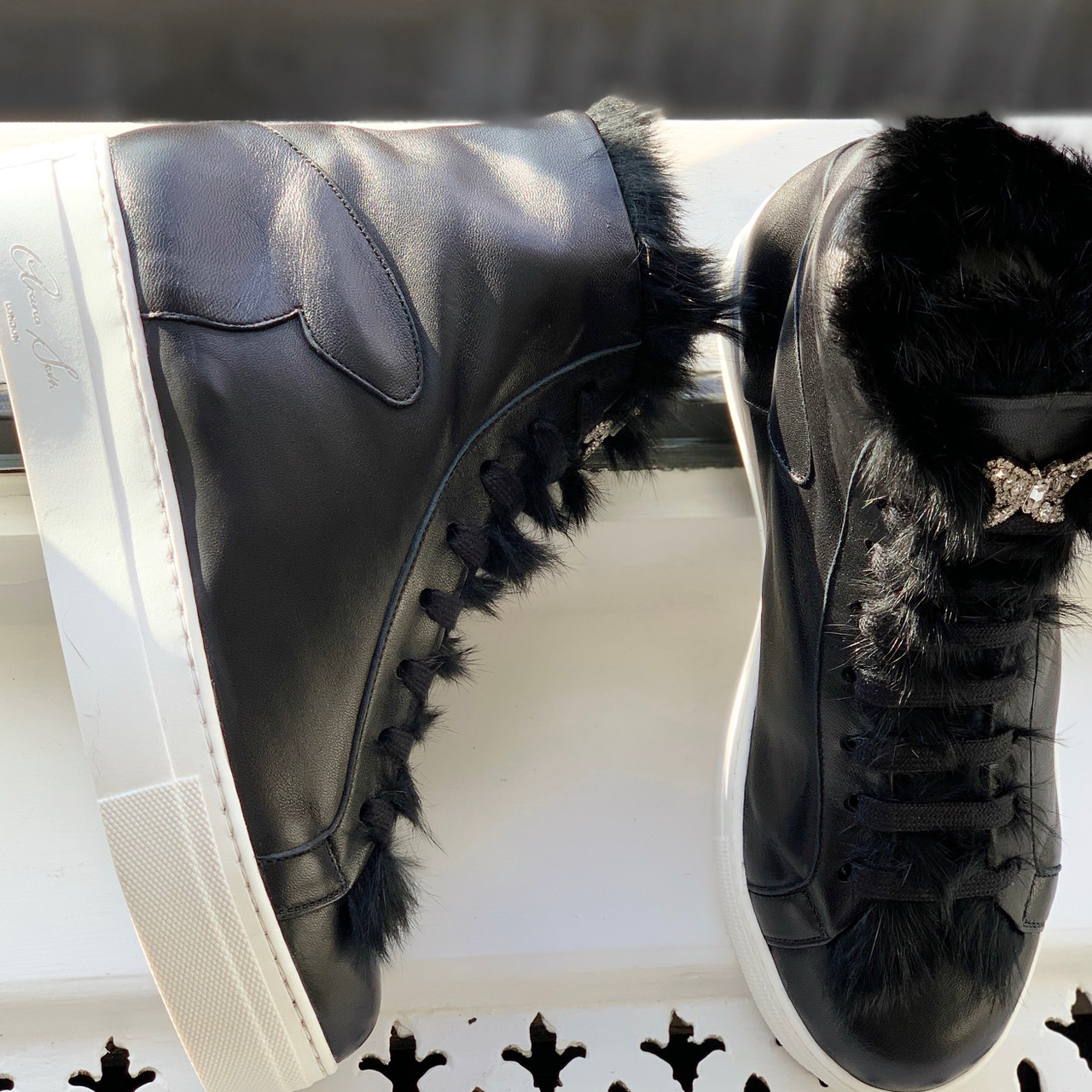 Brompton High Top Black Leather Sneaker