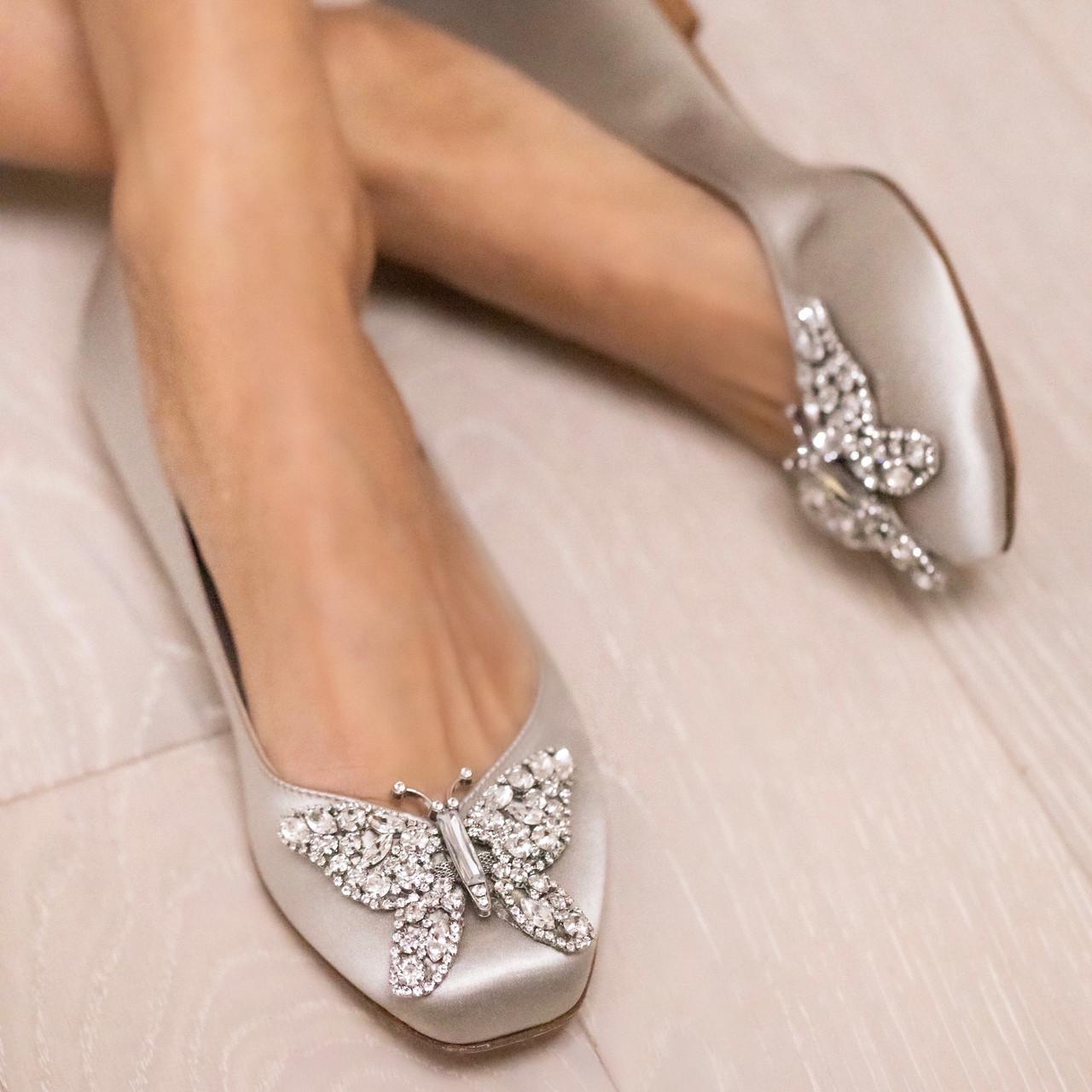 Carrie Ballerina Flat Silver Satin