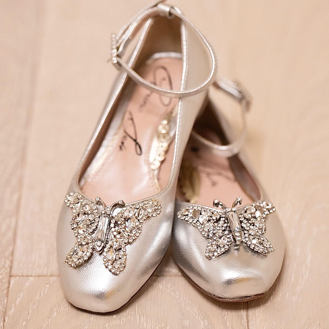 Anais Silver Leather Ballerina