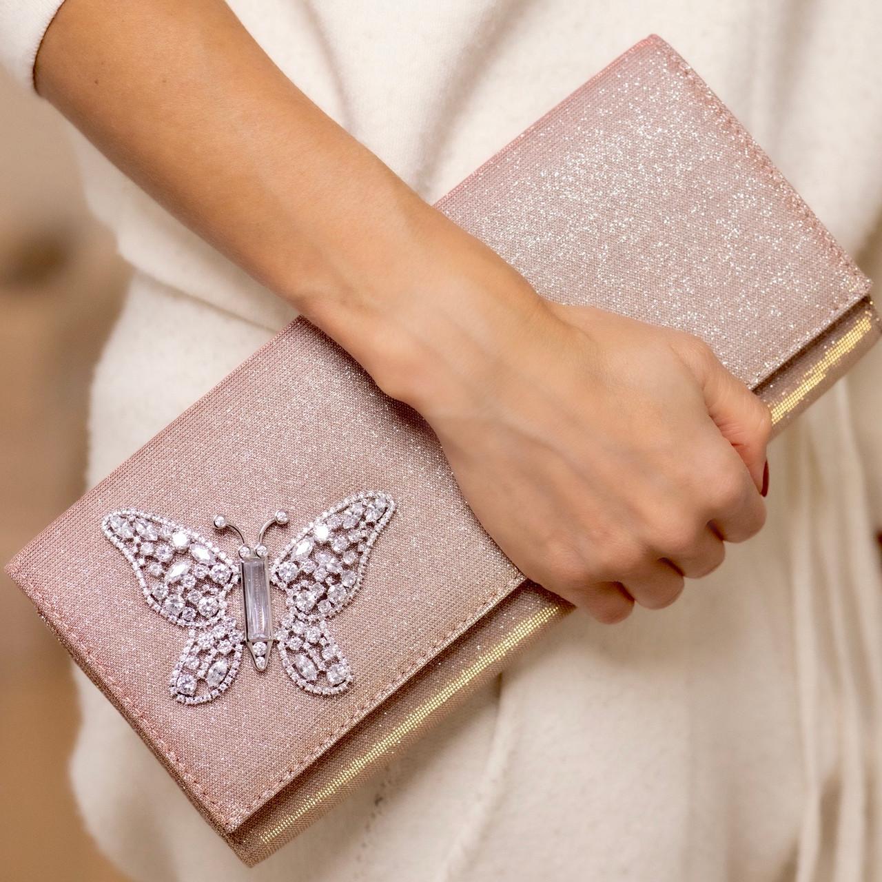 Farfalla Pink Notturno Clutch Bag