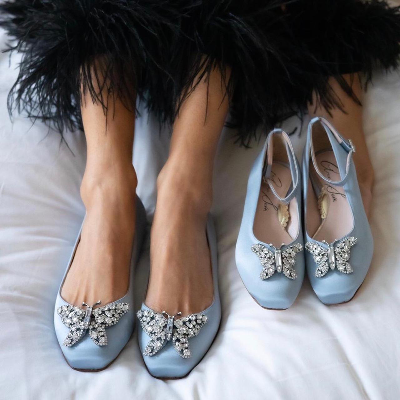 Carrie Ballerina Flat Stone Grey Satin