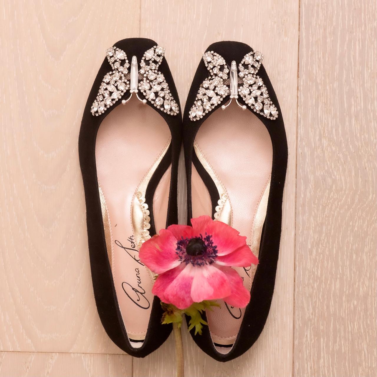 Carrie Ballerina Flat Black Suede