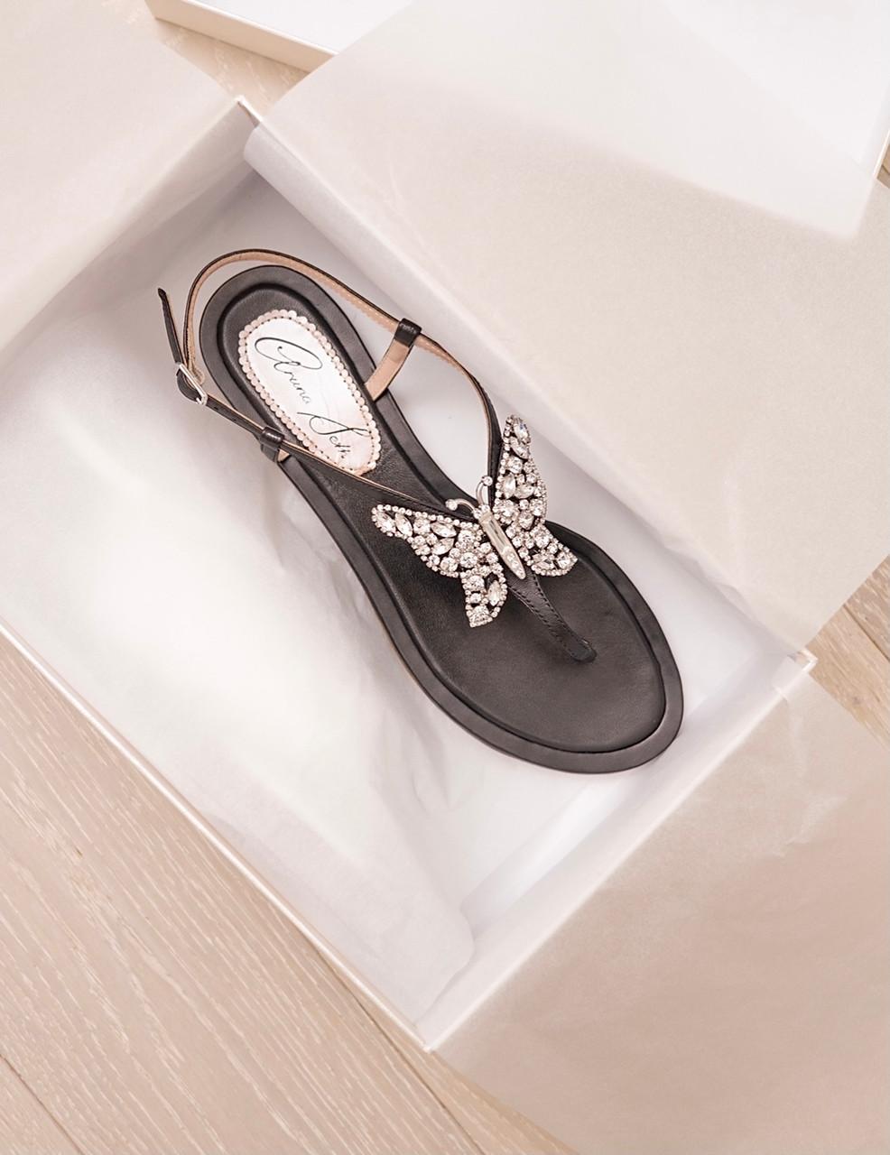 Capri Farfalla Black Leather Sandals
