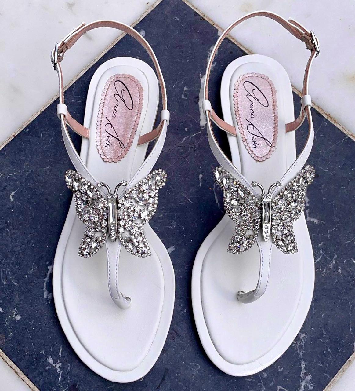 Capri Farfalla White Leather Sandals
