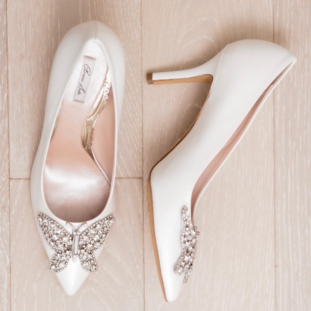 Emilia Farfalla Stiletto Ivory Pearlised Leather