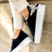 Rocket Black Velvet Sneakers