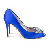 Sophia Round Toe Cobalt Blue Satin