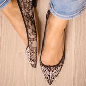 Eliana Ballerina Flat Pointy Black Lace