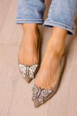 Eliana Ballerina Flat Pointy Grey Suede