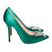 April Farfalla Stiletto Emerald Green Satin