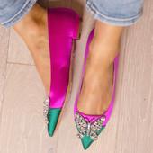 Eliana Ballerina Flat Pointy Pink & Green Satin