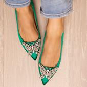 Eliana Ballerina Flat Pointy Green Satin
