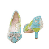 Grace Pointed Toe White and Green Lace