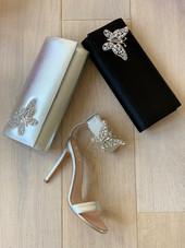 Farfalla Black Satin Clutch Bag