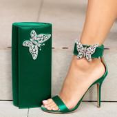 Farfalla Emerald Green Satin Clutch Bag
