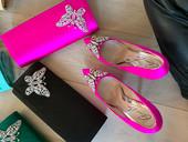 Farfalla Neon Pink Satin Clutch Bag
