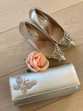 Farfalla Silver Leather Clutch Bag