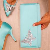 Tiffany Blue Satin Clutch Bag