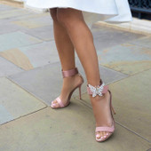 Portofino Embellished Blush Satin Heel Sandals