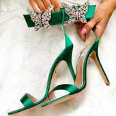 Portofino Embellished Emerald Green Satin Heel Sandals