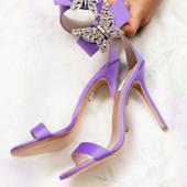 Portofino Embellished Lilac Satin Heel Sandals