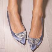 Eliana Ballerina Blue Grey Satin Pointy Ballerina