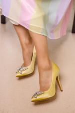 April Farfalla Stiletto Yellow Satin