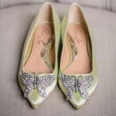 Eliana Ballerina Flat Pointy Lime Green Satin