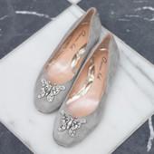 Carrie Ballerina Flat Grey Suede