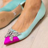 Eliana Ballerina Flat Pointy Tiffany Blue and Pink Satin