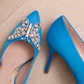 Emilia Farfalla Stiletto Ocean Blue Satin