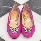 Carrie Ballerina Flat Fuchsia Pink Suede