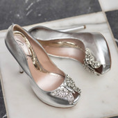 Evi Open Toe Silver Leather 130mm
