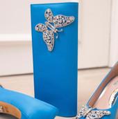 Farfalla Ocean Blue Satin Clutch Bag