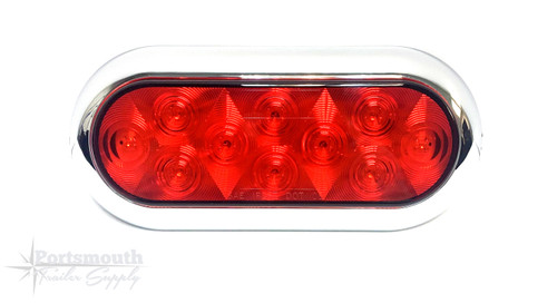 "6.5"" LED RED OVAL W/ BEZEL SURFACE MOUNT"