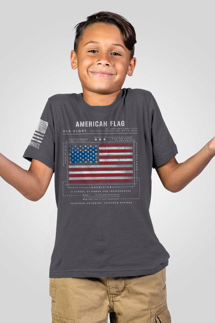 Nine Line Apparel -Youth- American Flag Schematic T-Shirt
