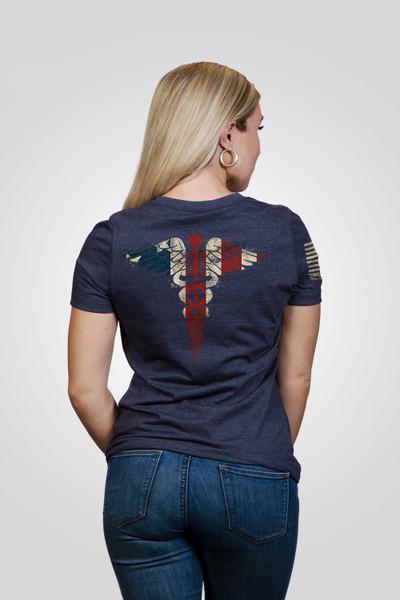Nine Line Apparel -Women's Nurse Flag -V-Neck T-Shirt