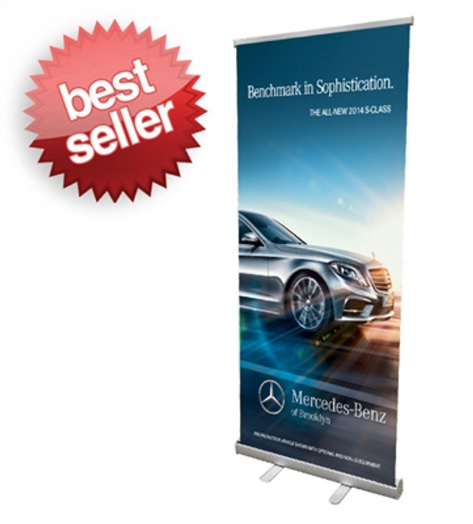 """Retractable Roll Up Banner Stand 33"""" Stand Only"""