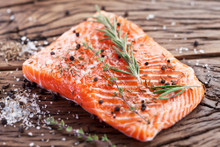 salmon portion cut cooked