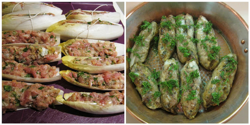 Endive Leaves Stuffed with Ground Turkey