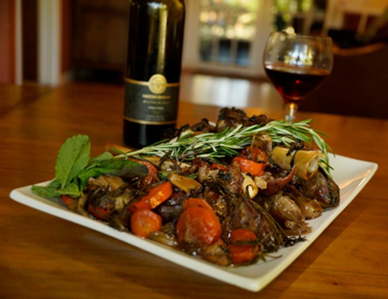 Garlic Stuffed Lamb Shanks in Mint Wine Reduction