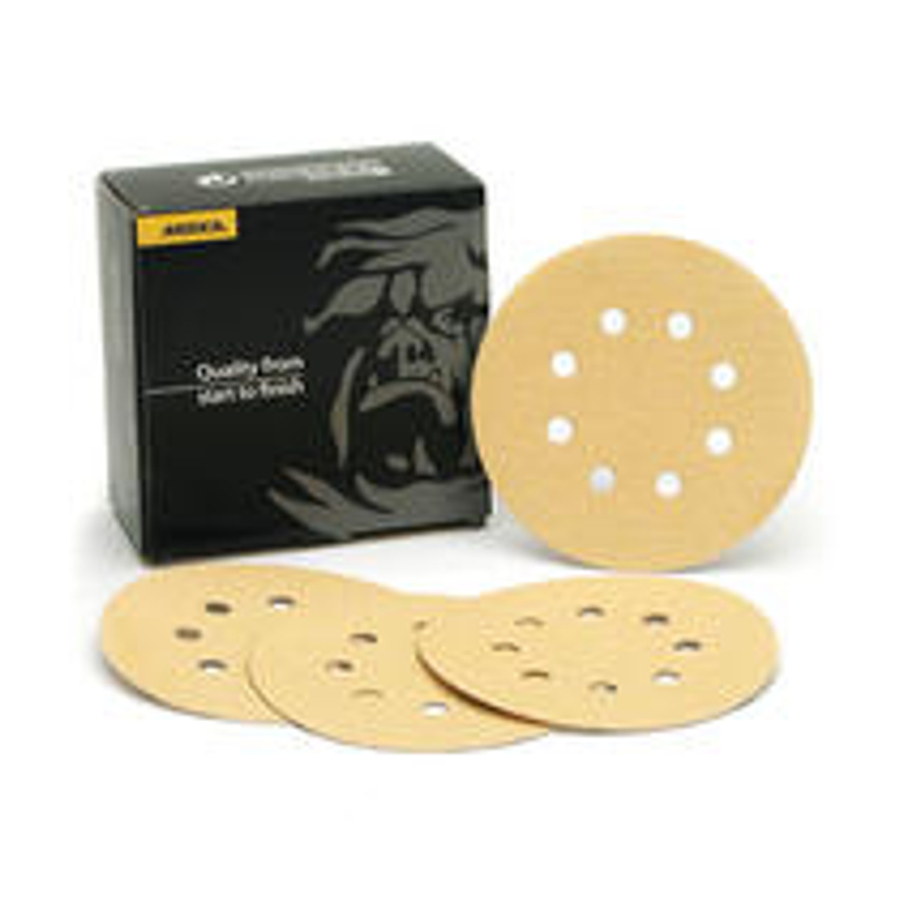 "Mirka 23-615-100 - Bulldog Gold 5"" 8 Hole Grip Vacuum Disc 100 Grit (Qty 50 per pk/bx)"