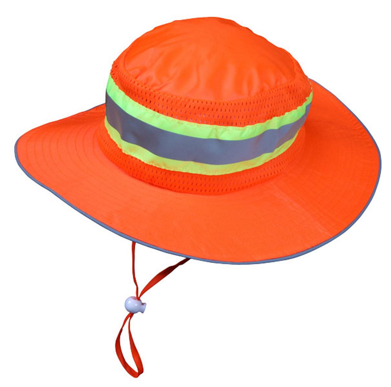 MCR HVH100 Boonie Hat High-Vis Orange Mesh Lime/Silver Reflective Stripe, Size L/XL