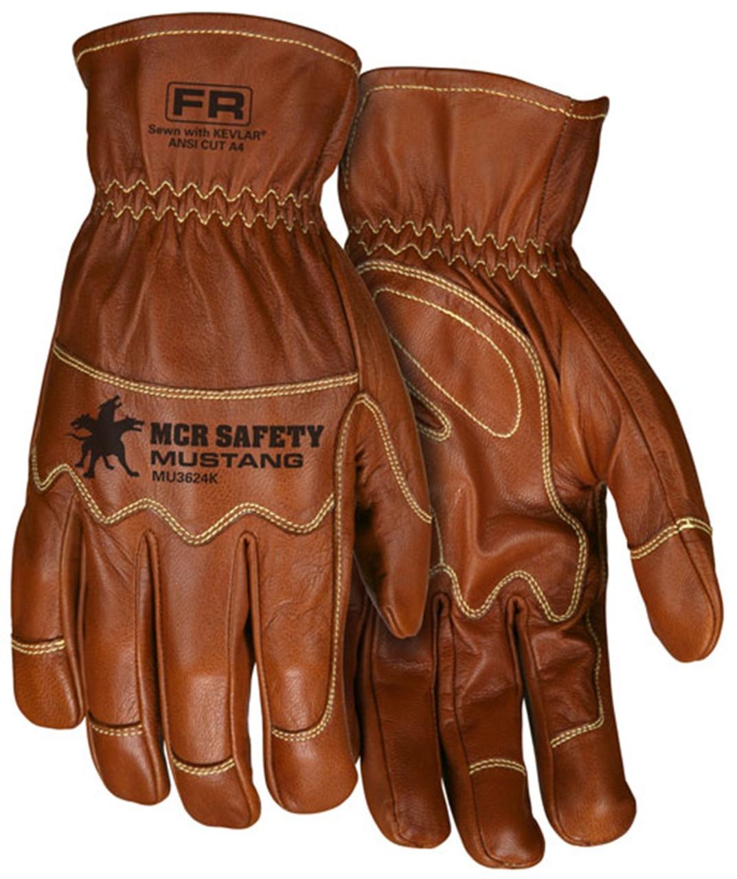 MCR Safety MU3624KM Mustang Utility Goatskin Leather Gloves, Size Medium (1 Pair)