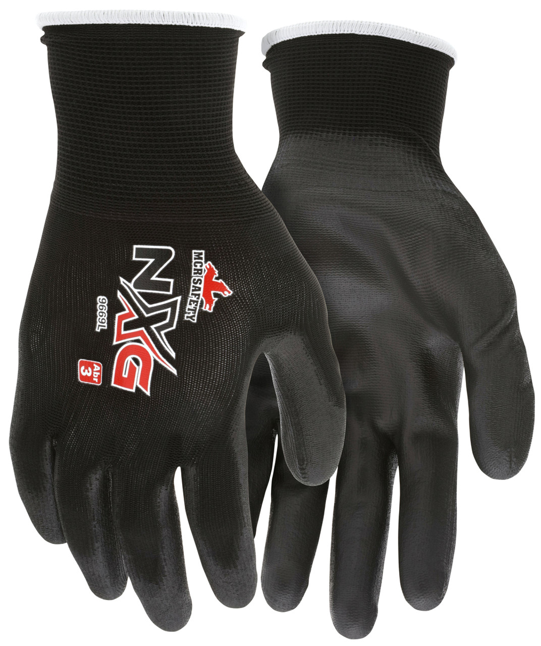 MCR Safety 9669L, 13 Gauge Black Nylon Shell, Black PU Palm & Fingers, L (12pr)