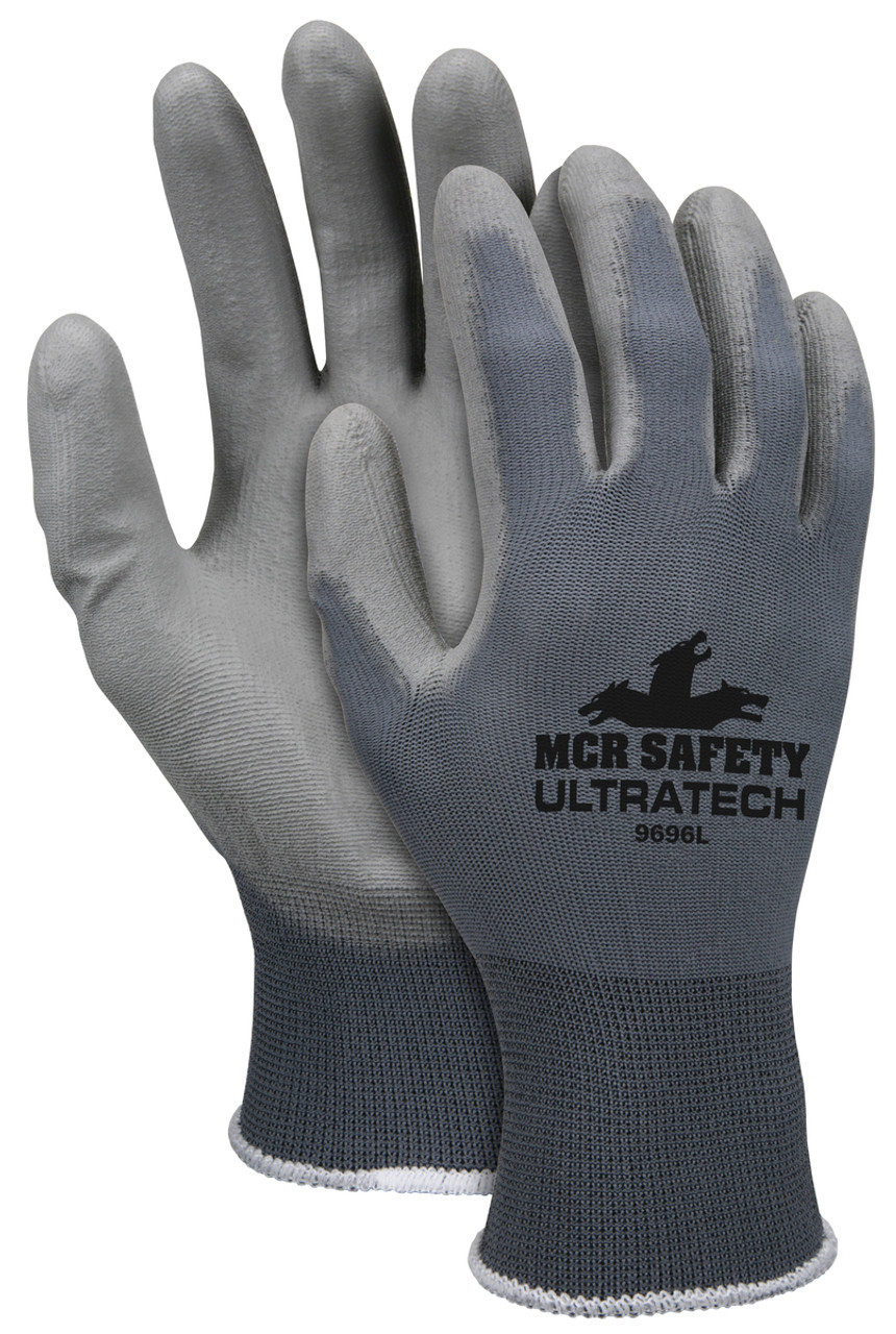 MCR Safety 9696L, UltraTech® PU 13 Gauge Gray Nylon Shell Gray PU Coated Palm, L (12pr)