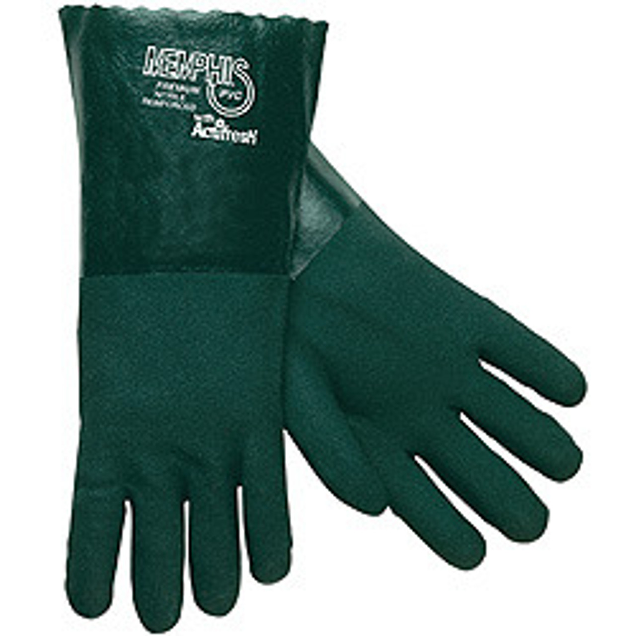 "Memphis Glove 6414 Premium Green PVC Double Dipped Jersey Lining 14"" Gauntlet, Size Lg. (12 Pair)"