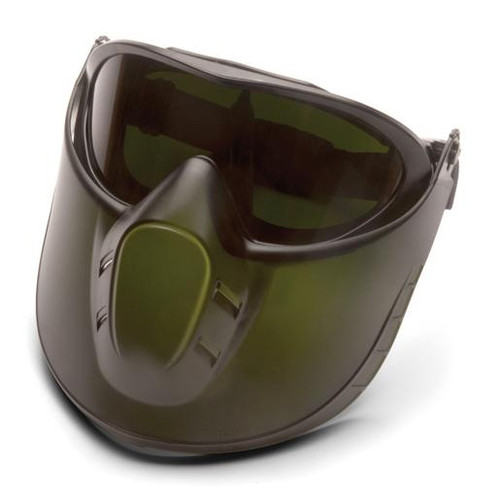 Pyramex GG504TSHIELDIR5 Capstone Goggle Goggles, Frame: Direct/Indirect, Lens: 5.0 IR  Filter Lens with Green Tinted Faceshield Attachment (1 Pair)
