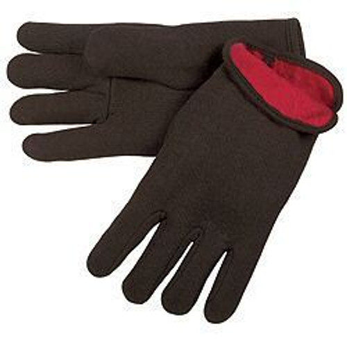 Memphis 7900 Men's Red Fleece Lined Brown Jersey Gloves, Size Large (12 Pair)